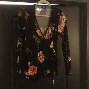 Floral wrap front long sleeve shirt